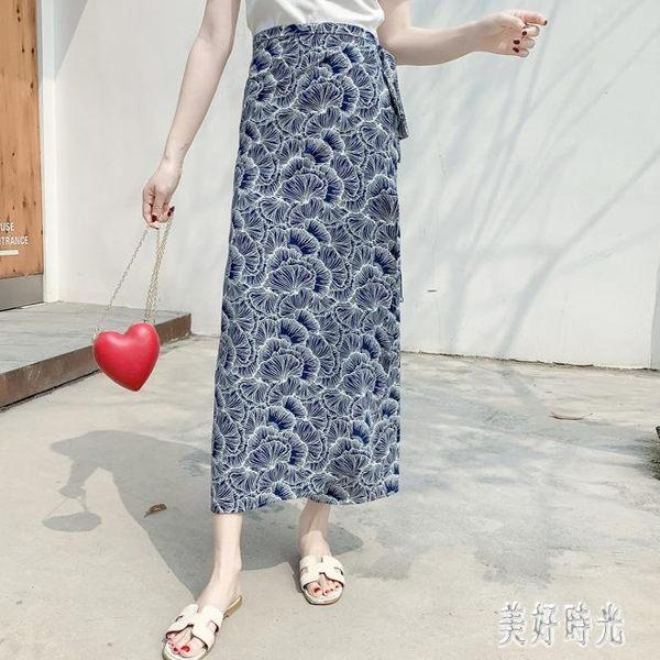 一片式半身裙中長款夏傣族開衩系帶包臀雪紡裙沙灘裹裙