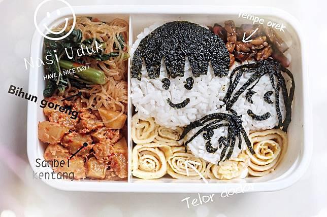 8. Paket empat sehat dengan nasi uduk berbentuk wajah sang suami dan anak  tercinta 9385204611