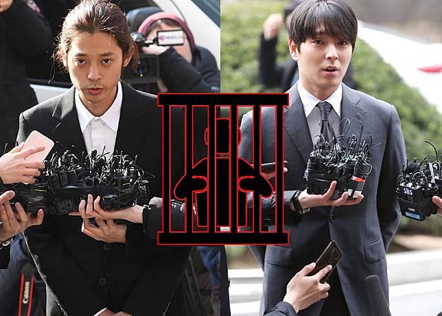 鄭俊英(左)與崔鍾勛出庭接受審訊。