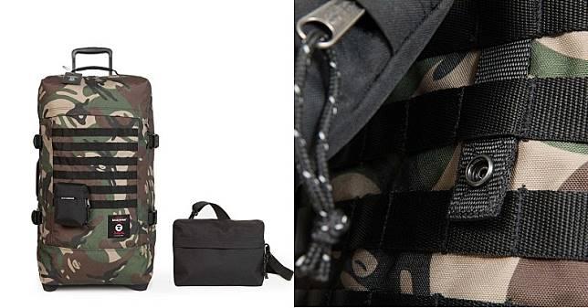行李箱正面設有軍用物品常見的MOLLE織帶系統,透過啪鈕可以將斜袋及腰包與行李箱結合,亦可按個人需要將兩者拆卸並獨立使用。(互聯網)