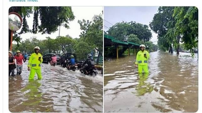 Banjir menggenangi Jalan Letjen Soeprapto, Jakarta Pusat pada Jumat (24/1/2020). [Twitter/TMC Polda Metro Jaya]