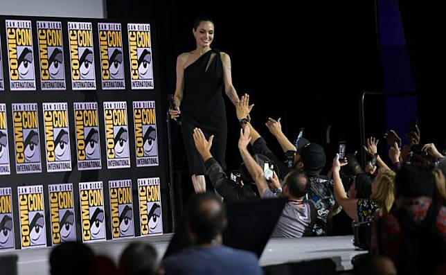 US actress Angelina Jolie arrives onstage for the Marvel panel in Hall H of the Convention Center during Comic Con in San Diego, California on July 20, 2019.