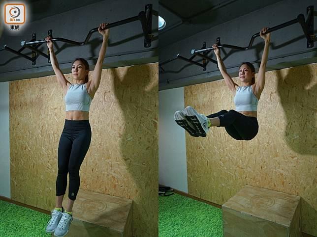 Hanging Leg Raise:身體先懸垂於橫杆之上,慢慢將雙腿提升與身體成直角,再慢慢將雙腿垂下,此動作有助鍛煉到腹肌位置及身體穩定性。(胡振文攝)