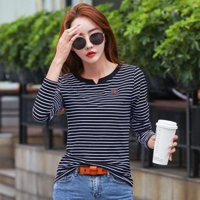 長袖T恤女2019夏季新款寬松V領時尚女士薄款打底衫純棉條紋上衣N2FA00G衣人有約