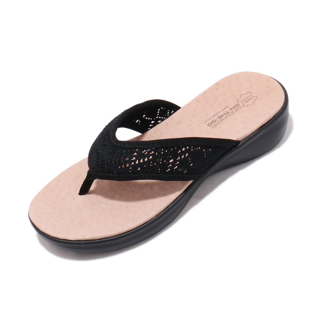 Skechers 拖鞋 On The Go Luxe-Queen Bee 黑 人字拖 女鞋 16279BBK 【ACS】
