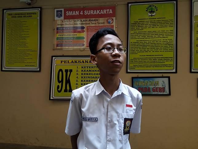 Ananda Hafidh Rifa'i Kusnanto saat ditemui di sekolahnya.. Medcom.id