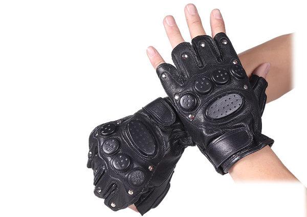 戰術真皮半指手套 男戶外運動登山騎行健身街舞羊皮鉚釘無指手套