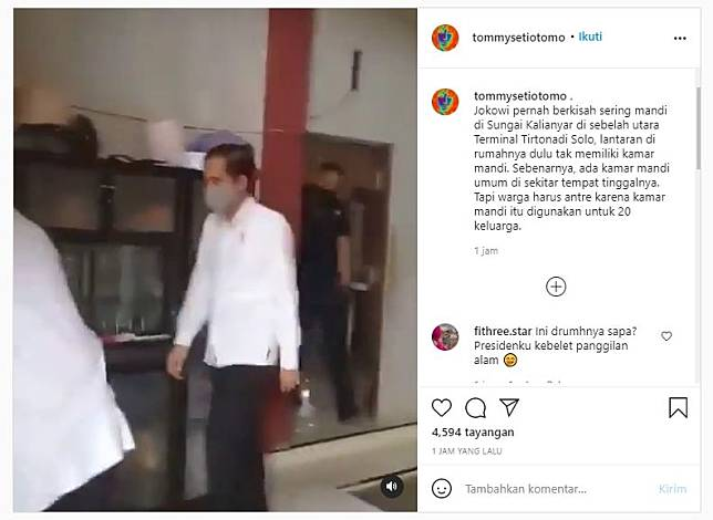 Jokowi numpang kamar mandi warga (Instagram).