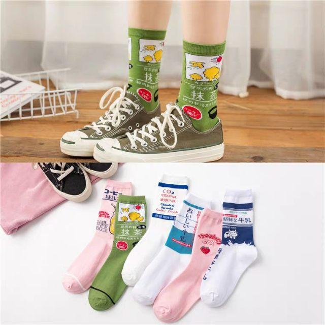 【現貨新品促銷】韓國少女日系潮襪 草莓汽水女卡通中筒襪 果汁牛乳飲料襪子全棉中筒襪子