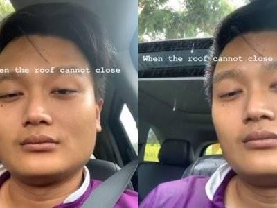 Video Seorang Pria Kehujanan di dalam Mobil, Muka Pasrahnya Bikin Lucu