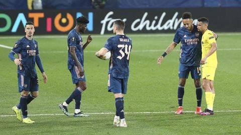 Arsenal dalam pertandingan semifinal Liga Europa 2020/2021. (Foto: AP/Alberto Saiz)