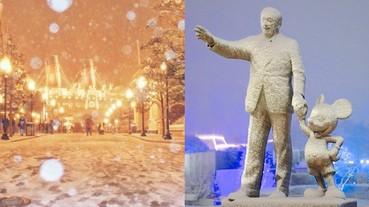 罕見限定美景!下雪的東京迪士尼樂園絕美 白色童話世界加倍夢幻!