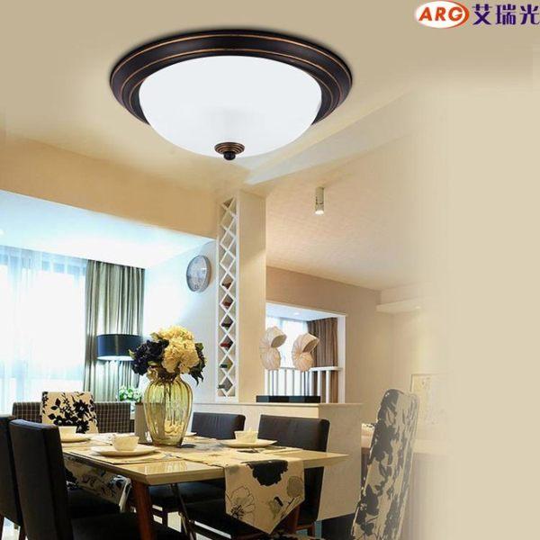 艾瑞光 美式鄉村吸頂燈陽臺臥室鐵藝北歐餐廳書房廚房玻璃燈具