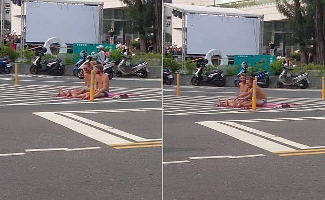 ▲網友 po 照指出有兩名外國男子在馬路上做日光浴,要大家騎車、開車路過時多加小心。(圖/翻攝自臉書「彰化人大小事」 , 2018.08.13)
