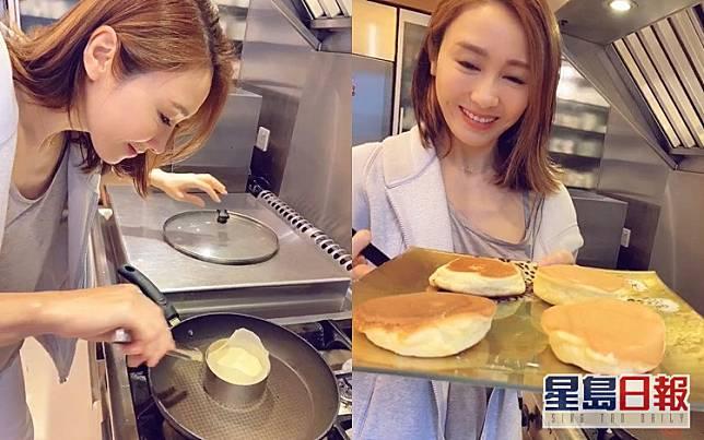 黎姿化身「美女廚神」炮製幸福pancake。