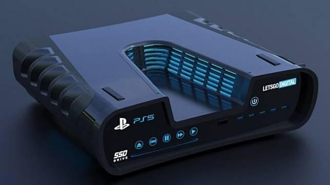Gambar rekaan artis dari sebuah desain yang didaftarkan Sony ke badan paten dunia pada 13 Agustus lalu. Ini diduga sebagai PlayStation 5. [Letsgodigital]