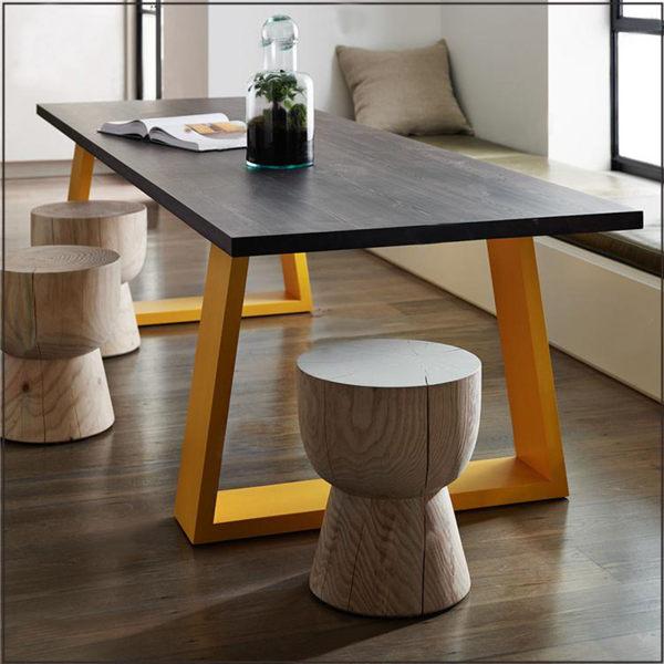 loft復古鐵藝餐桌咖啡桌實木書桌電腦桌原木辦公桌會議桌做舊桌子 DF摩可美家