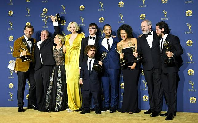 The cast of Game of Thrones pose with the Emmy for Outstanding Drama Series during the 70th Emmy Awards at the Microsoft Theatre in Los Angeles, California on Sept. 17