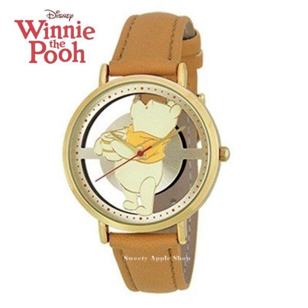 日本正版限定 SUN FLAME 迪士尼 小熊維尼&糖罐 皮革時尚腕錶 / 手錶