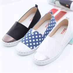 ZUCCA【z6316】雙拼色塊圓頭平底鞋-藍色/黑色/白色