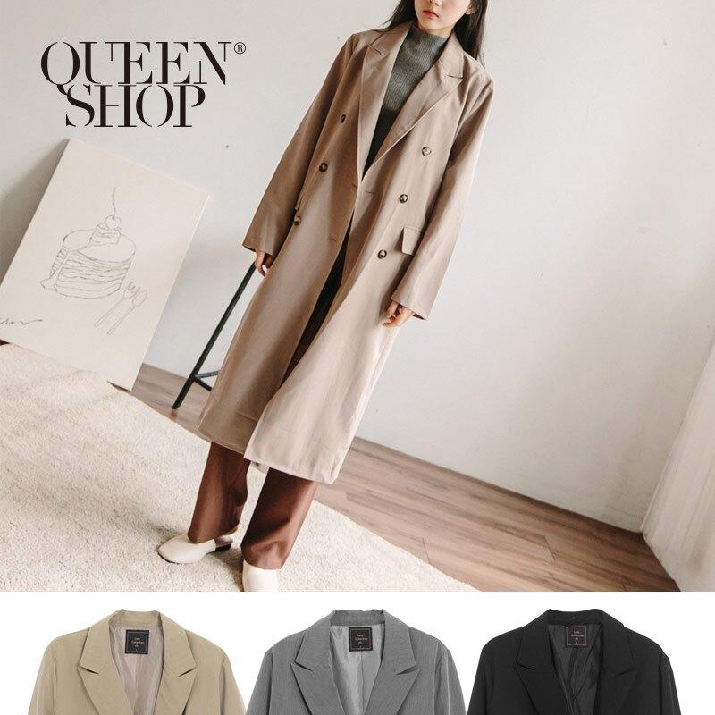 Queen Shop【02030346】排釦長版西裝外套 三色售*現+預*