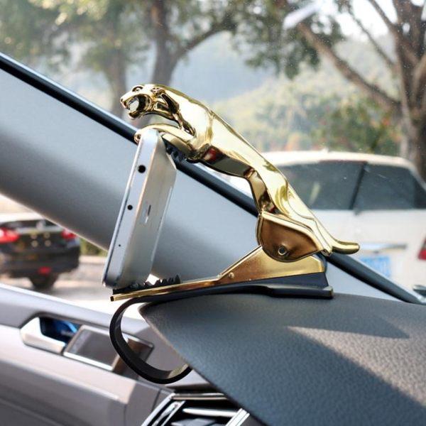 汽車載金錢豹子支架HUD多功能儀表臺卡扣式導航架擺件捷豹手機架