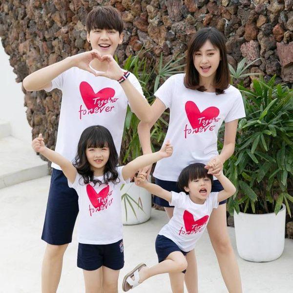 ★甜蜜蜜親子裝★韓版JX-S9935★《永遠在一起》短袖親子裝♥情侶裝