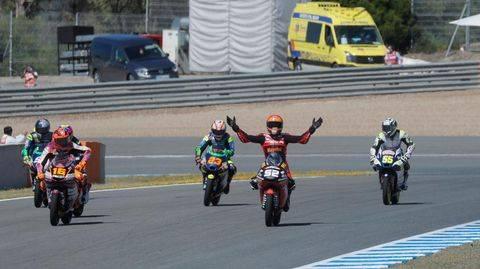 Jeremy Alcoba finis ketiga di Moto3 Spanyol 2021. (REUTERS/JON NAZCA)