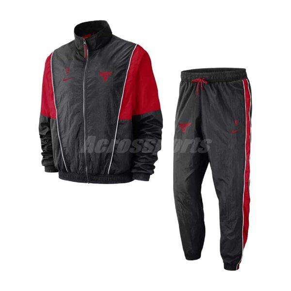 Nike 運動外套 長褲 套裝 Chicago Tracksuit Courtside 黑 紅 芝加哥公牛隊 熱身用 男款 【PUMP306】 AH8811-011