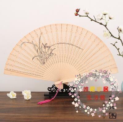 扇子7寸香木鏤空士仿檀香中國風男女工藝摺扇 帶扇穗表演道具木扇