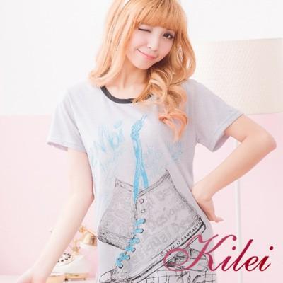 【Kilei】球鞋連身圖案棉質T恤睡衣XA1546-02(休閒黑)全尺碼