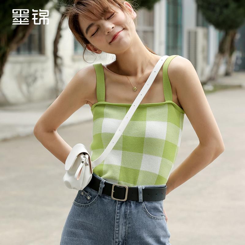 墨錦心機格子吊帶背心女夏外穿韓版無袖針織打底平口美背上衣內搭