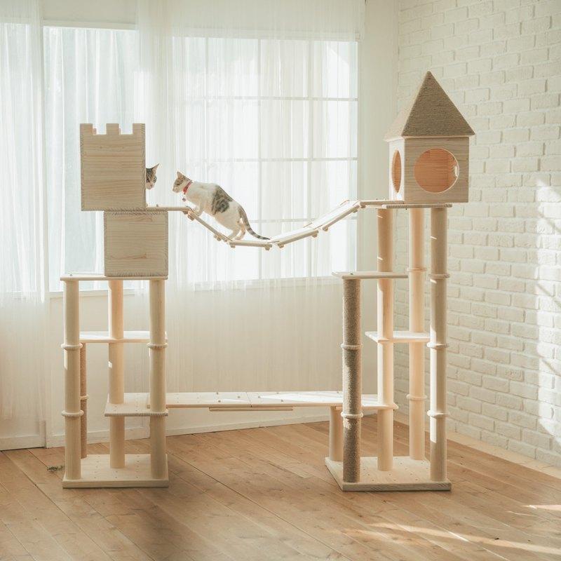 MiCHA 專利設計,親手打造貓咪的城堡 輕鬆組裝、簡單拆卸 AA 級松木板材、不上漆、不貼皮 天然硬質黃麻繩、無漂白、無染色 最自然的材質,才能給貓咪最自然的絕佳感觸 安全、穩固、耐用、環保無毒、承