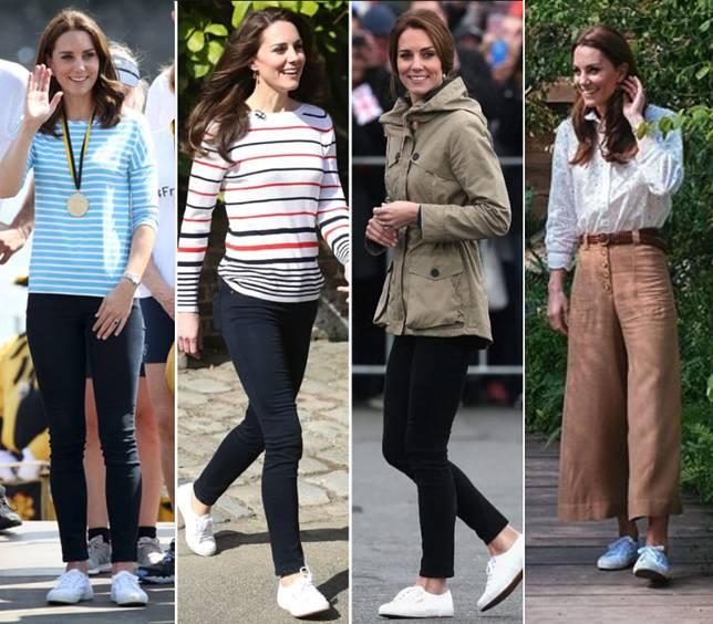 凱特王妃更是經常以小白鞋來mix & match。