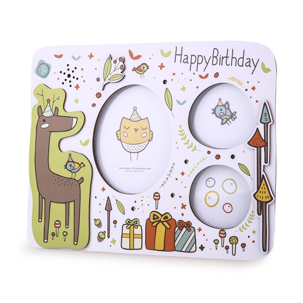 Gifthing夢幻森林LED音樂生日相框 寶寶生日紀念 寶寶成長記錄 卡通木質相框擺檯 生日會裝飾