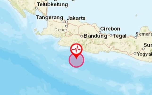 Gempa magnitudo 5,0 mengguncang Sukabumi sampai Bandung pada Senin pagi, 6 Januari 2020. Kredit: BMKG
