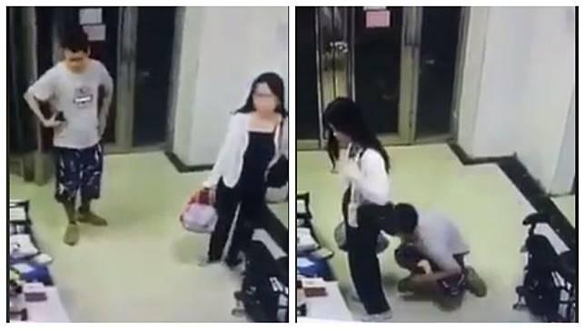 1名男子尾隨女子進入大廳後,趁對方不注意3度到她身後蹲下聞下體。(圖/翻攝自臉書)