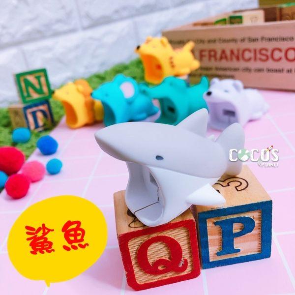 日本正版 Dreams 動物咬咬豆腐頭保護套 充電頭 插頭 保護套 IPHONE豆腐頭 鯊魚款 COCOS PP300