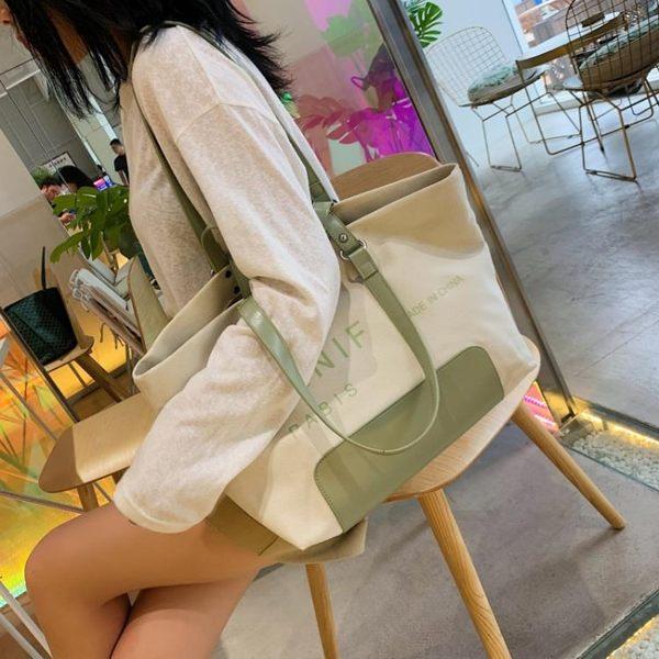 帆布包 高級感女單肩新款洋氣大容量托特布袋手提包百搭大包包 - 歐美韓