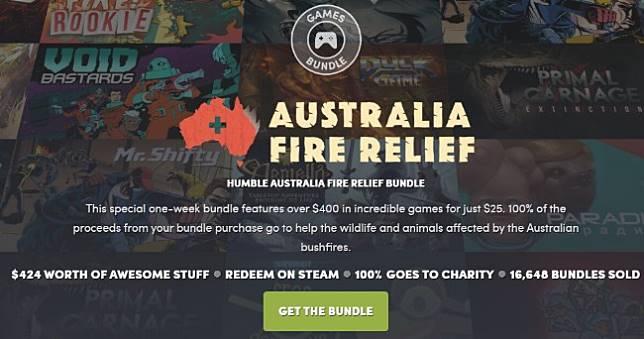 Humble「拯救澳洲野火」29款遊戲慈善包750元打包,所得全數捐贈慈善組織