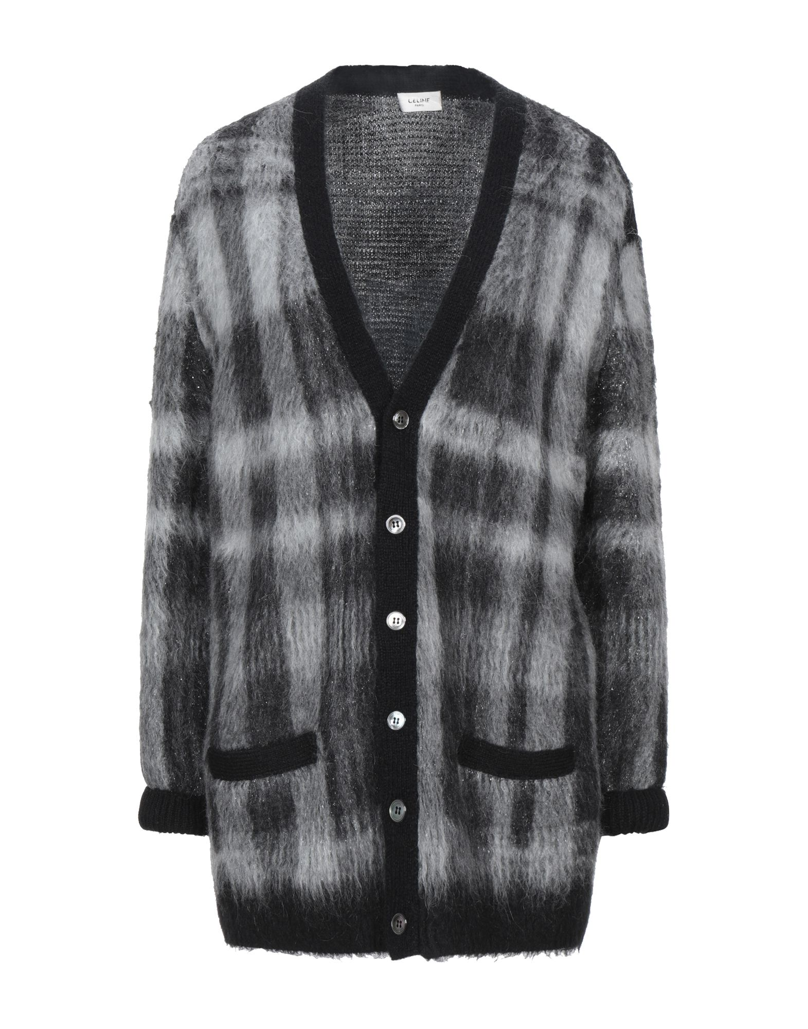 knitted, lamé, no appliqués, medium-weight knit, v-neck, checked, long sleeves, front closure, butto