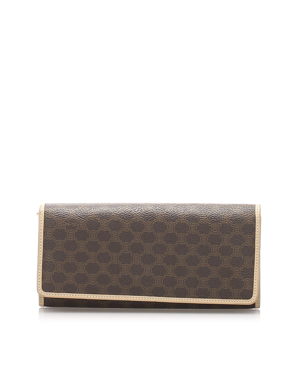 This long wallet features a PVC body with leather trim, a front flap with a snap button closure, and