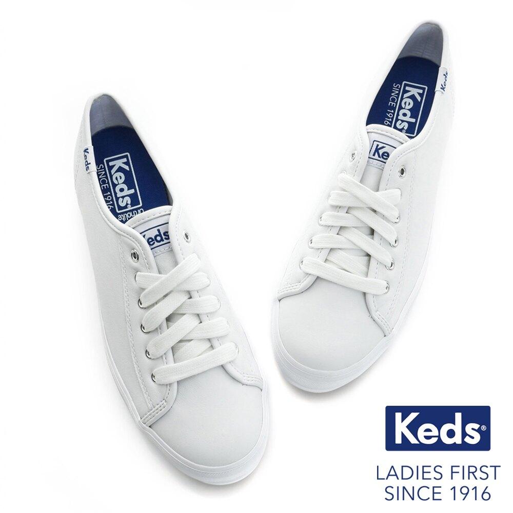 【領券滿1200再折120】KEDS 173W132224 經典厚底皮革綁帶休閒鞋小白鞋 TRIPLE KICK系列 / 白