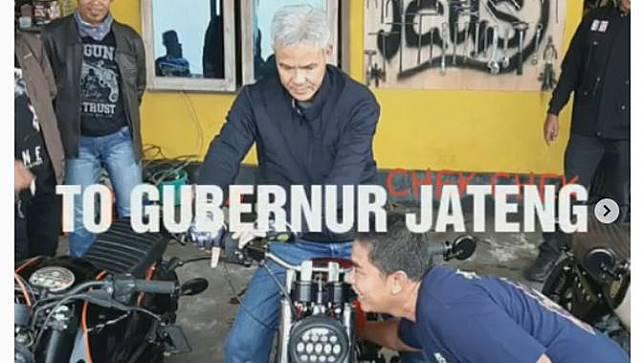 Gubernur Provinsi Jawa Tengah, Ganjar Pranowo membeli motor custom