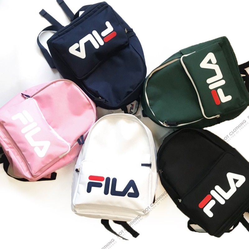 FILA LOGO BAG 黑色 深藍 白色 粉紅 墨綠 LGOG 書包 後背包 拉鍊 可放A4 韓系 男女 DOT聚點