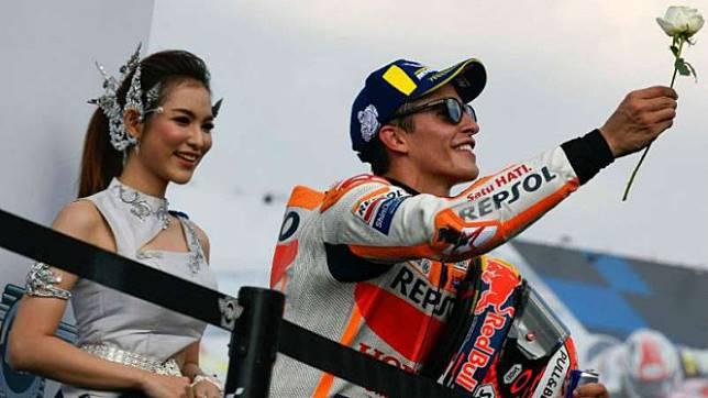 Marc Marquez, saat di podium MotoGP Buriram, Thailand.