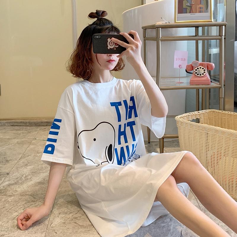 韓國卡通史努比夏季睡裙女純棉短袖寬鬆大碼可愛女士夏全棉家居服