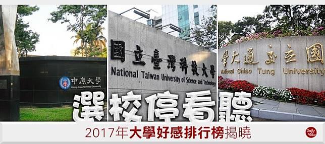 選校停看聽!2017年大學好感排行榜揭曉!