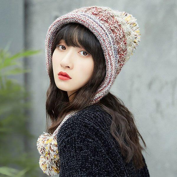 可愛 俏皮 氣質 保暖 絨 厚 針織帽 毛線帽 帽子