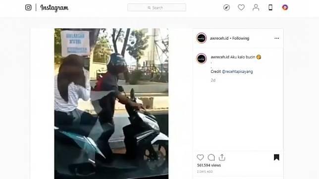 Pria dorong motor mogok. (instagram/awreceh.id)